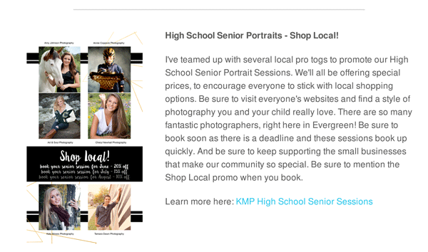 Shop local photographer promo