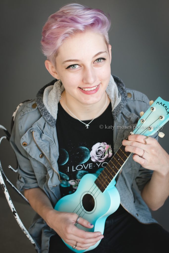 high school senior studio portrait ukelele