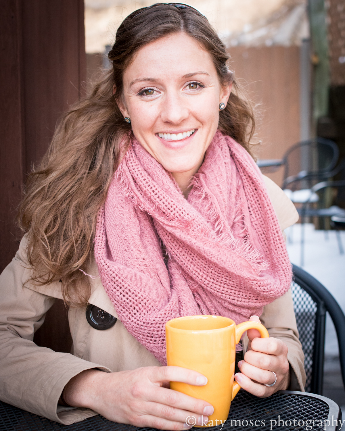 Headshot natural light colorado coffee shop