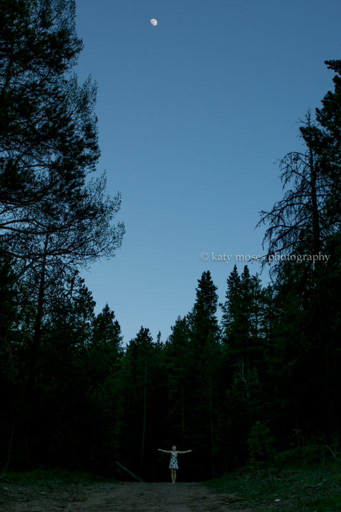 silhouette moon trees twilight high school senior